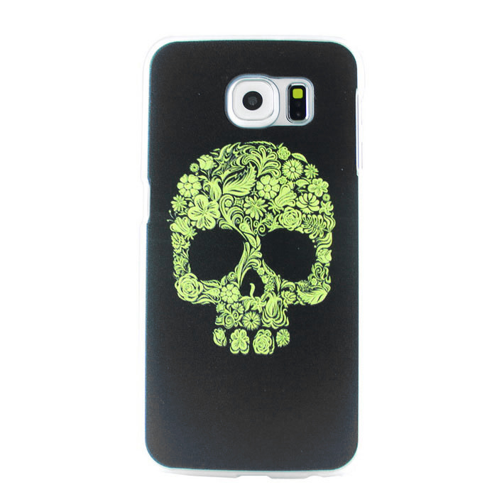 MO.MAT Skull Pattern Back Cover for Samsung Galaxy S6 - Black + Yellow