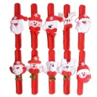 Weihnachts Cloth Celebration Slap Pat Kreis Hand Ring Armband-Armband - rot + weiß (10pcs)