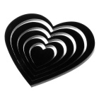 DIY Heart-Shaped Wooden 3D Decorative Wall Stickers Decals - Black (5pcs)