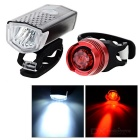 3-Mode 2-LED Bike Headlamp White Light + Taillight Red Light - Black + Red