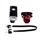 3-Mode 2-LED Bike White Light + Taillight Red Light - Black + Red