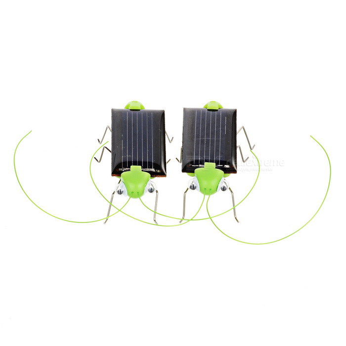 Novel Solar Powered Cockroach Toy for Children - Black + Green (2PCS)