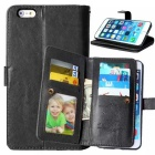 Flip Open Wallet Case Cover w/ Stand / Slots for IPHONE 6 PLUS - Black