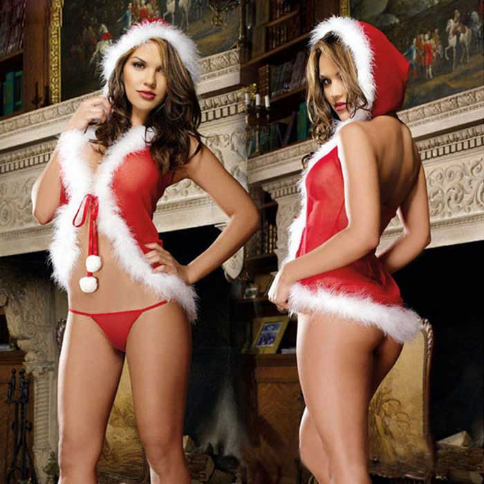 Hooded Backless Lingerie + Thong Set for Christmas Party - Red + White