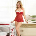 Christmas Sexy Lingerie + Thong Set for Women - Red + White