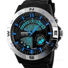SKMEI 50m Waterproof Men's Sports Analog Digital Watch - Black + Silver (1 x CR2025 / 1 x SR626SW)