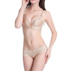 Women's Sexy Comfortable Deep V Push-up Wireless Lace Bra Underwire Panties Sets -  Beige (Siza 70B)