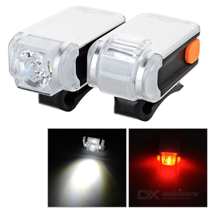 MS-622 3-Mode Bike White Light + Taillight Red Light - Grey + BlackBike Light<br>Form  ColorGreyish White + BlackModelMS-622Quantity1 DX.PCM.Model.AttributeModel.UnitMaterialAluminum + PCEmitter BrandOthersLED TypeOthersEmitter BINLEDColor BINNeutral White,RedNumber of Emitters1Input Voltage3.7 DX.PCM.Model.AttributeModel.UnitBattery1 x 400mA lithium batteryBattery included or notYesCurrent0.1 DX.PCM.Model.AttributeModel.UnitTheoretical Lumens30 DX.PCM.Model.AttributeModel.UnitActual Lumens30 DX.PCM.Model.AttributeModel.UnitRuntime5~10 DX.PCM.Model.AttributeModel.UnitNumber of Modes3Mode ArrangementHi,Low,Fast StrobeMode MemoryNoSwitch TypeForward clickySwitch LocationSideBeam Range25 DX.PCM.Model.AttributeModel.UnitStrap/ClipClip includedApplicationBody,Handle BarHolder Diameter25~45 DX.PCM.Model.AttributeModel.UnitWaterproofYesOther FeaturesSmall size, high brightness, long service time.Packing List1 x Headlamp1 x Taillight1 x USB cable (about 10cm)2 x Rubber rings1 x English user manual<br>