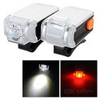 MS-622 3-Mode Bike Headlamp White Light + Taillight Red Light - Grey + Black