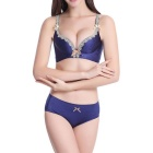 Women's Sexy Comfortable Deep V Push-up Wireless Lace Bra Underwire Panties Sets - Blue (Siza 70B)