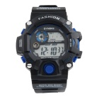 SYNOKE Unisex Multi-Function Waterproof PU Band Sports Digital Watch w/ Hourly Chime - Black + Blue