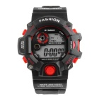 SYNOKE Unisex Multi-Function Waterproof PU Band Sports Digital Watch w/ Hourly Chime - Black + Red