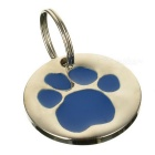 Dog's Footprint Pattern Personalized Anti-Lost Pet ID Tag for Dogs & Cats - Blue + Silver
