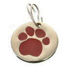 Dog's Footprint Pattern Personalized Anti-Lost Pet ID Tag for Dogs & Cats - Red + Silver
