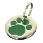 Dog's Footprint Pattern Personalized Anti-Lost Pet ID Tag for Dogs & Cats - Green + Silver