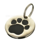 Dog's Footprint Pattern Personalized Anti-Lost Pet ID Tag for Dogs & Cats - Black + Silver