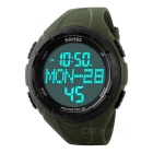 SKMEI 50m Waterproof PU Band Sports Watch w/ 3D Pedometer, Calorie Tracking - Army Green