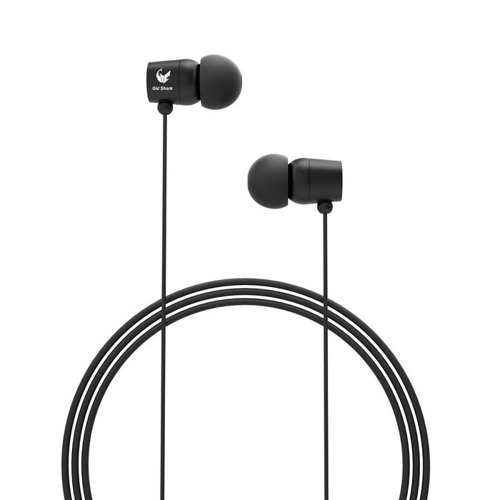 OLDSHARK Wired 3.5mm In-Ear Earphones w/ Volume Control, Mic. - Black