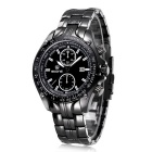 SKONE Men's Fashion Steel Band Analog Quartz Wrist Watch w/ Calendar - Black + White  (1 x 377)