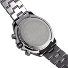 SKONE Men's Steel Band Quartz Wrist Watch w/ Calendar - Black + White