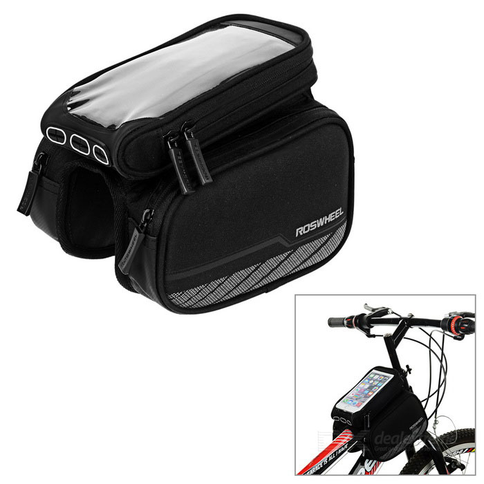 ROSWHEEL 2.8L Reflective Bike Bag w/ Touch Screen for Phone - BlackBike Bags<br>Form ColorBlackQuantity1 DX.PCM.Model.AttributeModel.UnitMaterialPolyester / PVCTypeSaddle BagsCapacity2.8 DX.PCM.Model.AttributeModel.UnitWaterproofNoGenderUnisexBest UseCycling,Recreational Cycling,Road CyclingCertificationCEPacking List1 x Bag<br>
