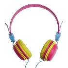 Universal 3.5mm Plug Hi-Fi Headband Stereo Headphone for Phone, MP3, Tablet, PSP - Rose + Yellow