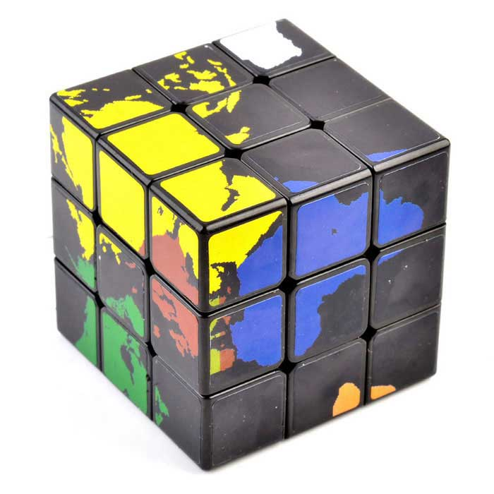 57mm 3x3x3 world map magic rubik 39 s cube black multi. Black Bedroom Furniture Sets. Home Design Ideas