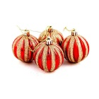 Christmas Tree Ornaments Pumpkin Painted Decorative Balls - Red (6PCS)