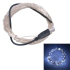 USB Powered 6W 100-LED Light Strip White Light 500lm SMD 0603 - Silver + Black (DC 5V / 10M)