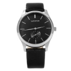 WESTCHI Men's Fashion Casual Split Leather Strap Waterproof Quartz Watch - Silver + Black