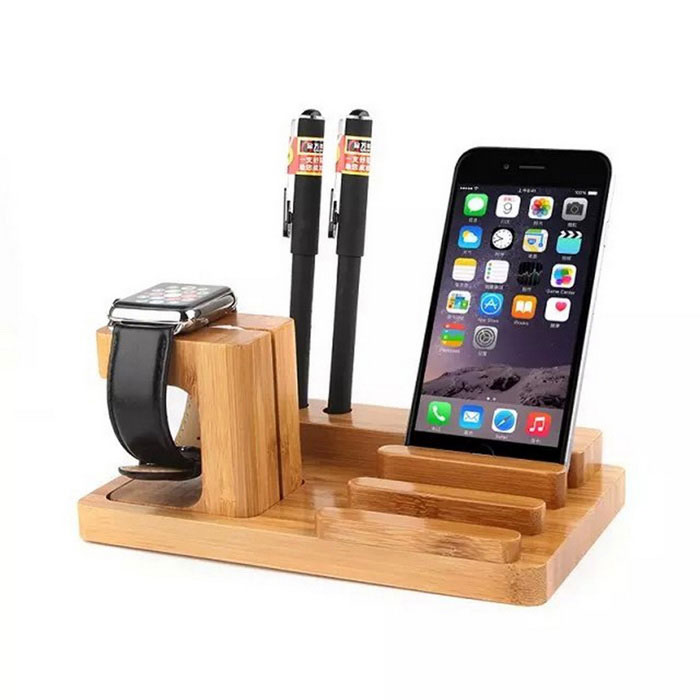Multifunctional Wooden Holder for IPHONE, Samsung - Burlywood