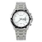 WESTCHI Men's Fashion Multifunctional Stainless Steel Band Waterproof Quartz Watch - Silver + White