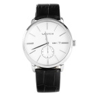 WESTCHI Men's Fashion Casual Waterproof Split Leather Strap Quartz Watch - Silver + White