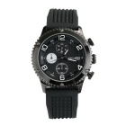 WESTCHI Men's Multifunctional Three Small Sub Dials Silicone Band Waterproof Quartz Watch - Black
