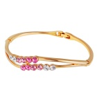 Xinguang Double Pole Twisted Pink Crystal Bracelet for Women - Gold