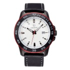 SKONE Fashion Men's Waterproof Business Matte Leather Band Sports Watch w/ Calendar - Black + White