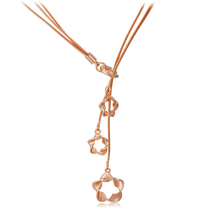 Xinguang Three Flowers Style Pendant Necklace for Women - Rose Golden