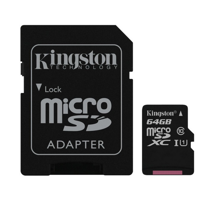 Kingston MicroSD 64GB UHS-I med SD-adapter SDC10G2 / 64GB
