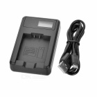"Camera Battery Charger w/ 0.9"" LCD for Pentax S006 - Black"