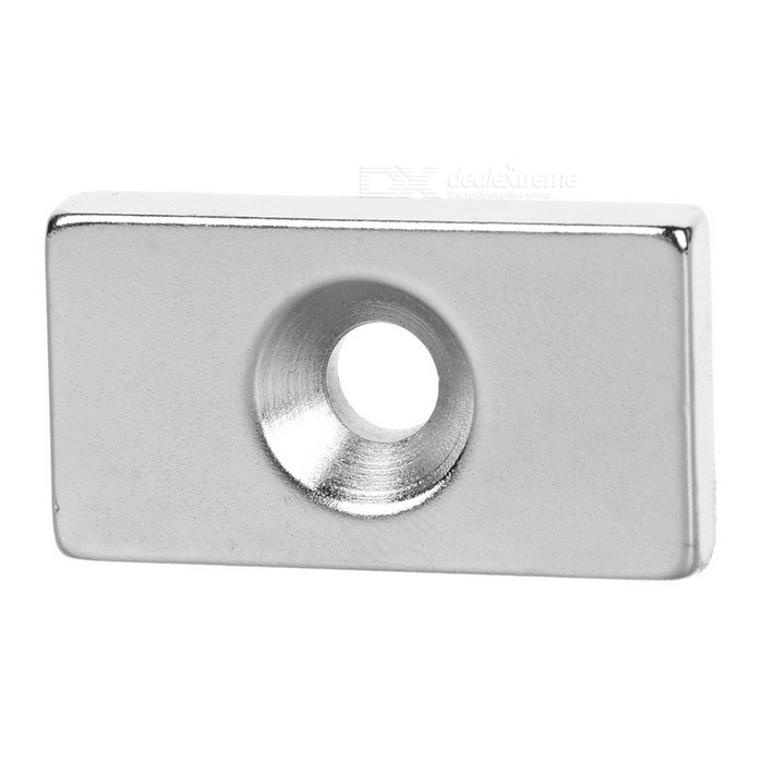 30*16*5mm Rectangular Strong NdFeB Magnet w/ Hole - Silver