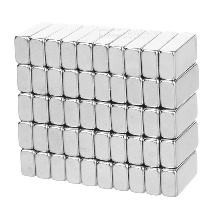 10*5*3mm Rectangular Strong NdFeB Magnet - Silver (50PCS)