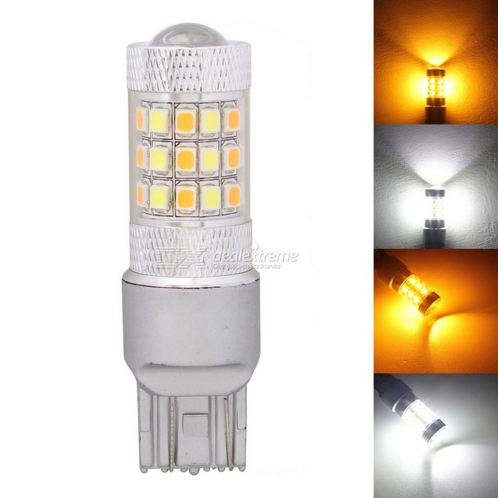 MZ T20 W21/5W 7443 8W White + Yellow LED Car DRL / Steering LightSignal Lights<br>Color BINT20 White+YellowModelN/AQuantity1 DX.PCM.Model.AttributeModel.UnitMaterialPCBForm ColorSilverEmitter TypeLEDChip BrandOthers,N/AChip Type2835 SMD LEDTotal EmittersOthers,42PowerOthers,8Color Temperature6500 DX.PCM.Model.AttributeModel.UnitWavelength597~577 DX.PCM.Model.AttributeModel.UnitTheoretical Lumens500 DX.PCM.Model.AttributeModel.UnitActual Lumens420 DX.PCM.Model.AttributeModel.UnitRate Voltage12Waterproof FunctionNoConnector TypeOthers,T20ApplicationBrake light,Backup light,Steering light,Tail light,Daytime running lightPacking List1 x LED Bulb<br>