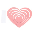 DIY Heart-Shaped Wooden 3D Decorative Wall Stickers Decals - Pink (5pcs)