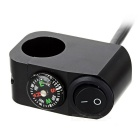 Motorcycle Handlebar Switch w/ Compass for Headlight - Black