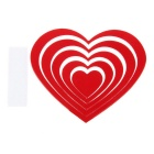 DIY Heart-Shaped Wooden 3D Decorative Wall Stickers Decals - Red (5pcs)