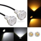 MZ 22.5mm 2W LED Eagle Eyes Car Steering Light White + Yellow 4-SMD