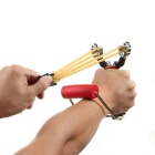 Outdoor Recreation Stainless Steel Slingshot w/ Stand - Red + Brown