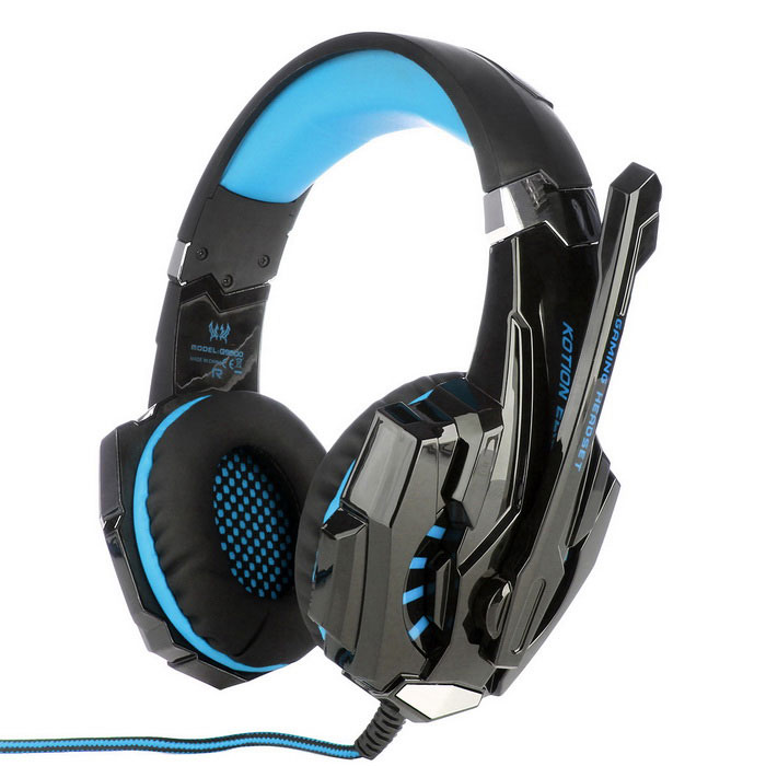 KOTION EACH G9000 3.5mm Glaring LED Light Gaming Headset - Blue +BlackHeadphones<br>Form  ColorBlue + BlackQuantity1 DX.PCM.Model.AttributeModel.UnitShade Of ColorBlackHeadphone StyleHeadbandConnectionWired,3.5mm Wired,USB 2.0Cable Length228.5 DX.PCM.Model.AttributeModel.UnitMaterialPU + ABS + FoamSensitivity-38dB +/- 3dBRemoteYesWith MicrophoneBuilt-inFrequency Response15Hz-20KHzImpedance32 DX.PCM.Model.AttributeModel.UnitConnector3.5mmVolume ControlSupportPacking List1 x Headset (Cable length:228.5cm)1 x Chinese &amp; English manual1 x Warranty Card<br>