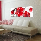 Bizhen Red Flowers Painting Canvas Wall Art Pictures - Red (3PCS)