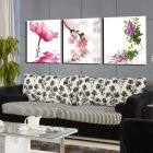 Home Living Room Decoration Frame-Free Water Flowers Painting Canvas Wall Art Pictures (3pcs)